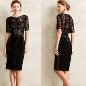 BEGUILE BY BYRON LARS BLACK LACE PENCIL DRESS